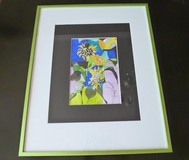Framed flower watercolor