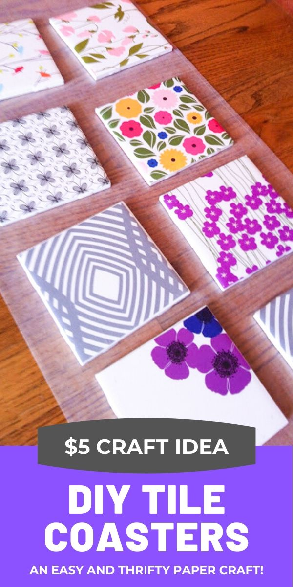 DIY Tile Coasters with Scrapbooking Paper