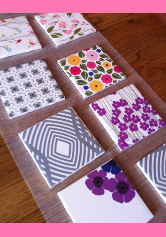 DIY Night: Tile Coasters with Scrapbook Paper