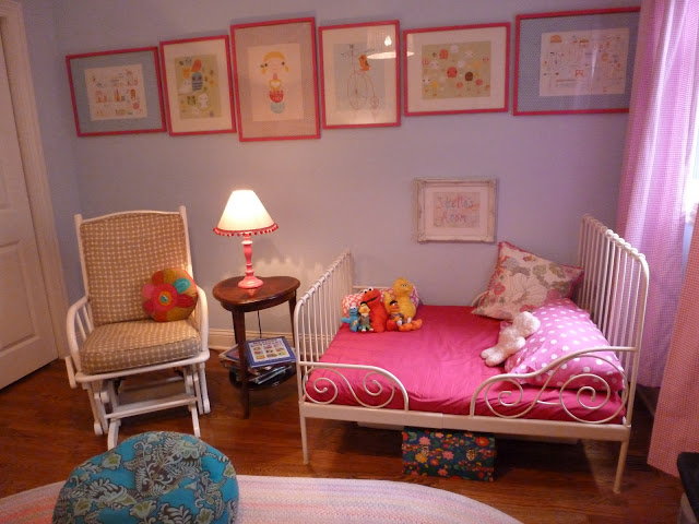 Girl nursery hot pink and blue