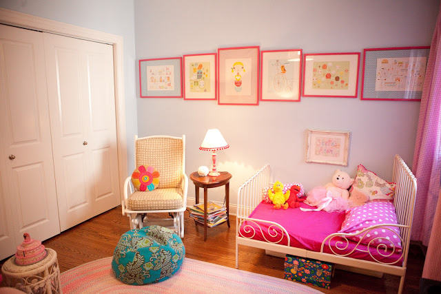 Hot pink and blue nursery