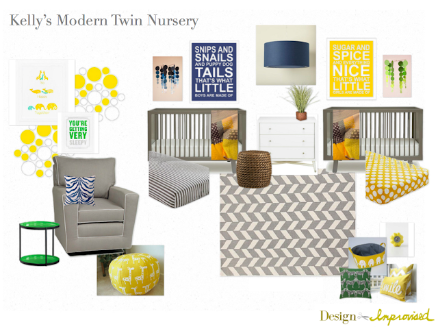 Grey and yellow twin nursery