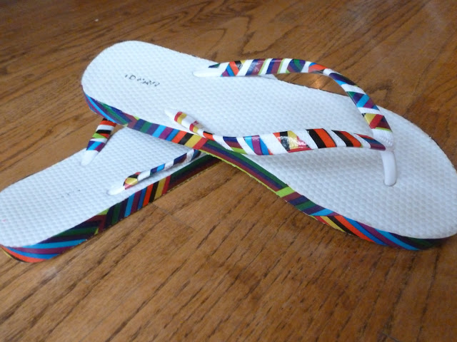 Duct Tape Embellished Flip Flops