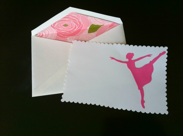 Ballet birthday party thank you note