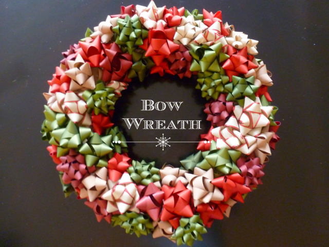Simple wreath made from Christmas bows