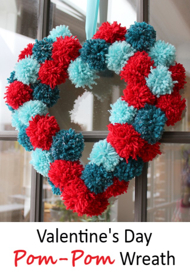 Pom-Pom Heart Wreath