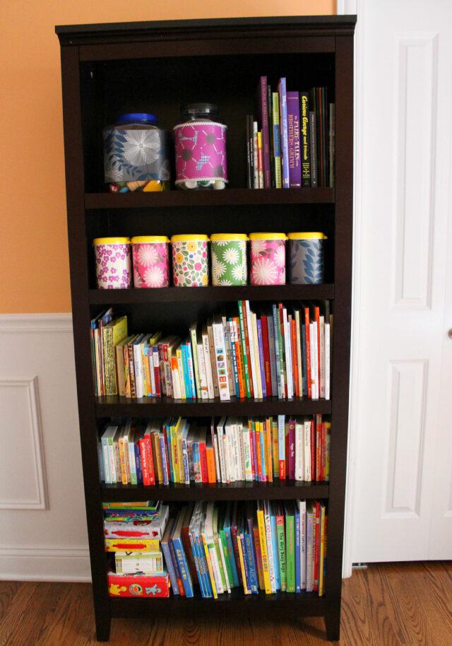 Organized bookshelf in playroom