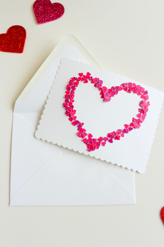 DIY Confetti Heart Valentine Card Idea