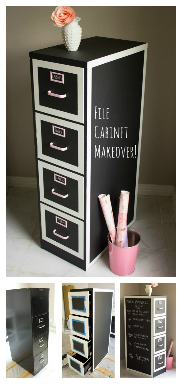 File cabinet makeover - transform an old file cabinet with chalkboard paint and use for craft supply storage!