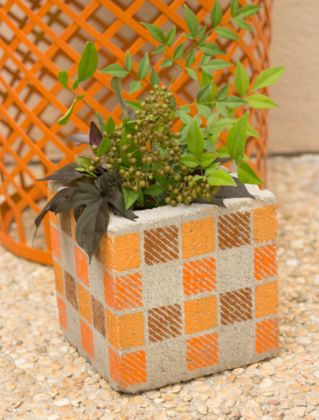 DIY Stenciled Cinder Block Vase or Planter