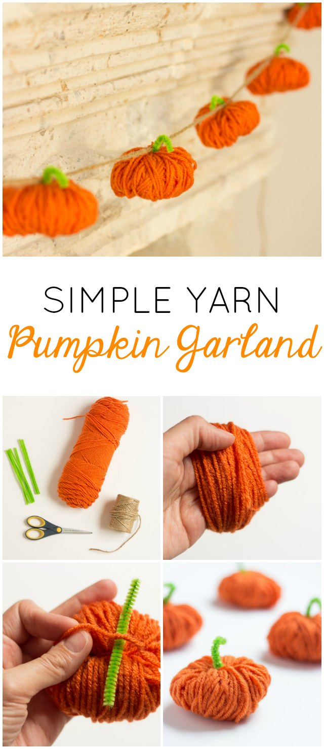 Make this simple yarn pumpkin garland for your fall mantel!