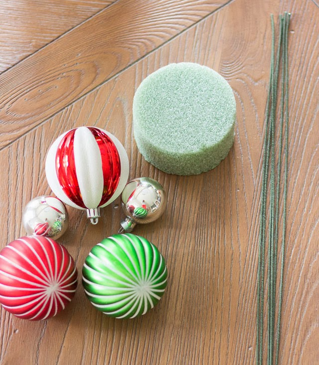 Supplies for Christmas ornament centerpiece