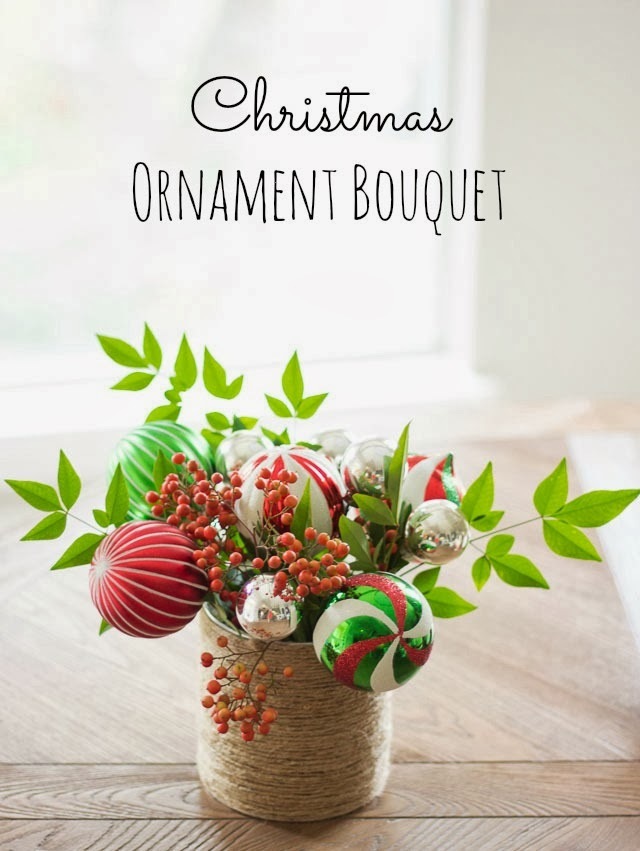 DIY Christmas ornament centerpiece
