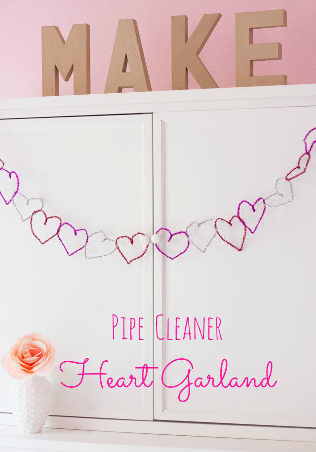 Valentine pipe cleaner heart garland