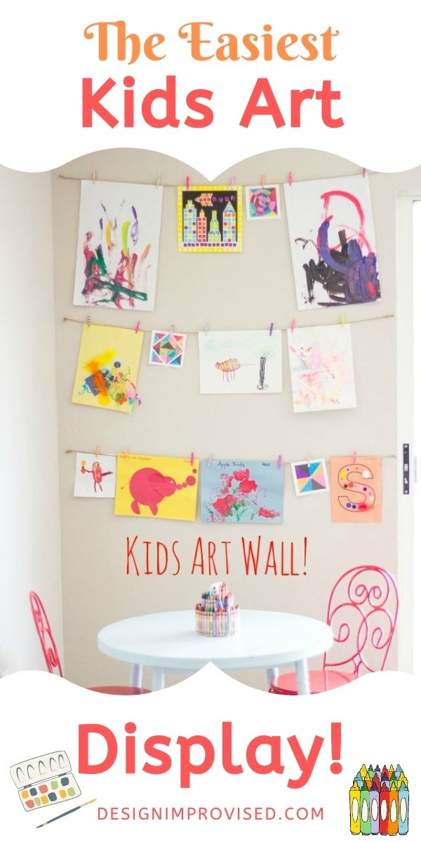 Simple Kids Art Wall Idea