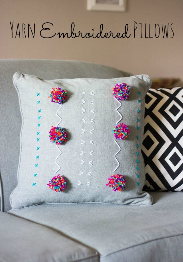 Yarn Embroidered Pillows