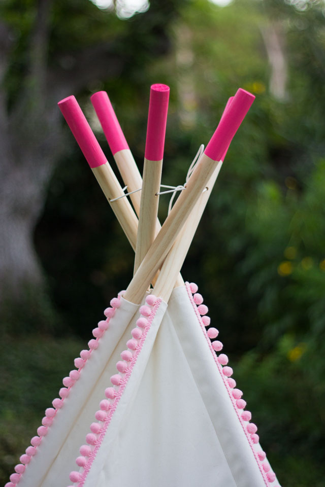 DIY Decorated Teepee - just add pom-pom trim and colorful shapes to make it your own!    Design Improvised blog