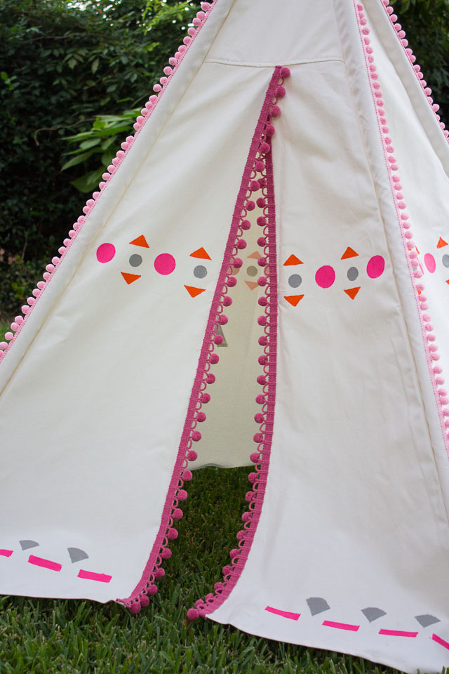 DIY Decorated Teepee - just add pom-pom trim and colorful shapes to make it your own! || Design Improvised blog