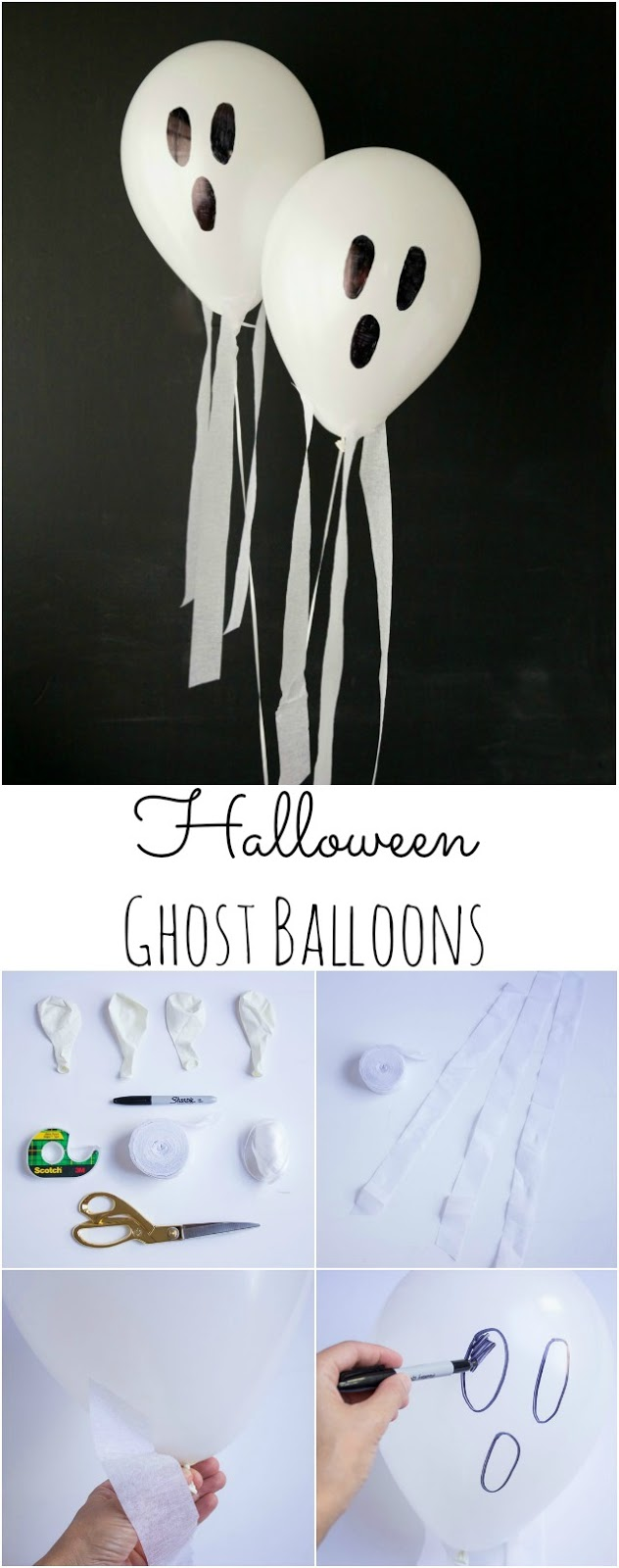 These DIY Halloween ghost balloons look like they are flying through the air! || Design Improvised blog