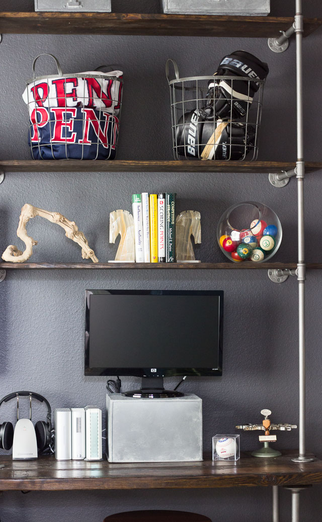 Modern Industrial Man Cave || http://designmprovised.com #YourBigFinish