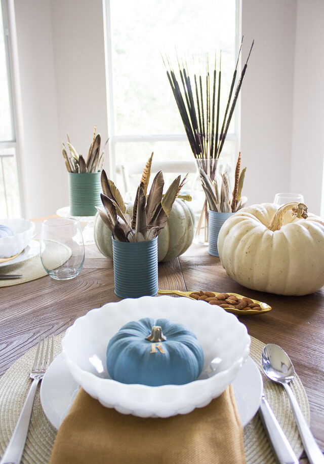 DIY Feather Centerpiece for Thanksgiving Table