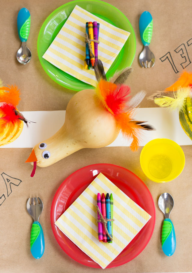 Thanksgiving Kids Table with Gourd Turkeys