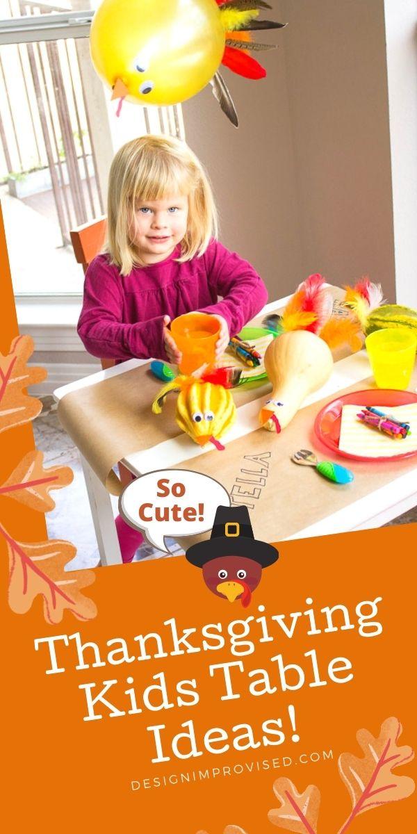 Child sitting at Thanksgiving kids table