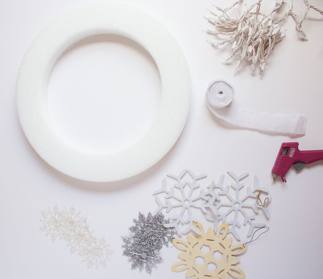 Supplies for glowing snowflake wreath