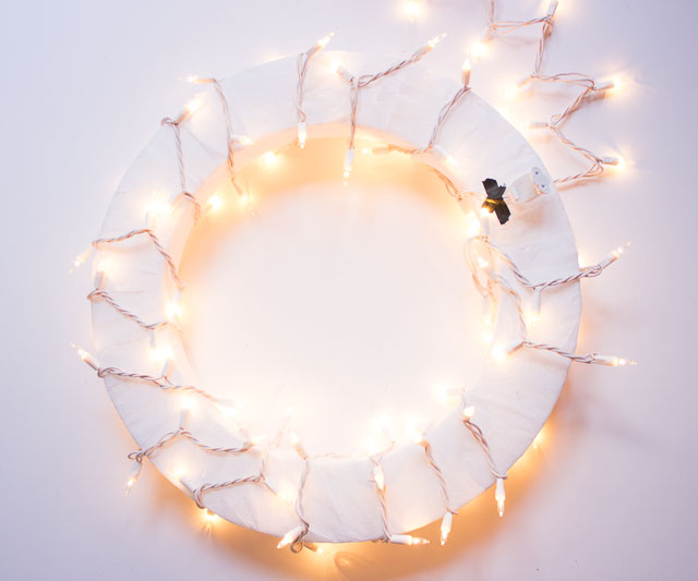 How to wrap white Christmas lights around the wreath