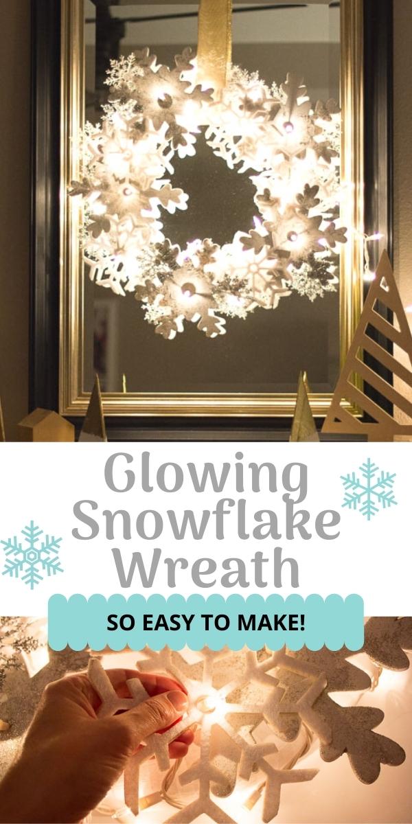 DIY Glowing Snowflake Wreath