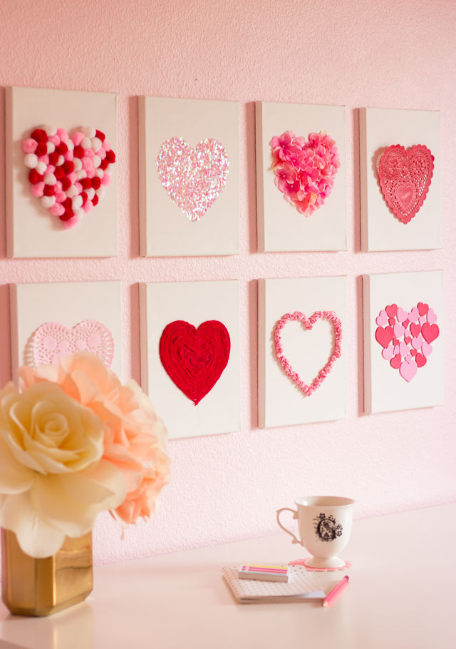 Valentine S Day Diy Canvas Heart Art Design Improviseddesign