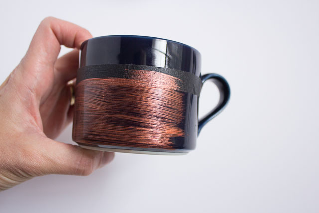Metallic dipped coffee mugs