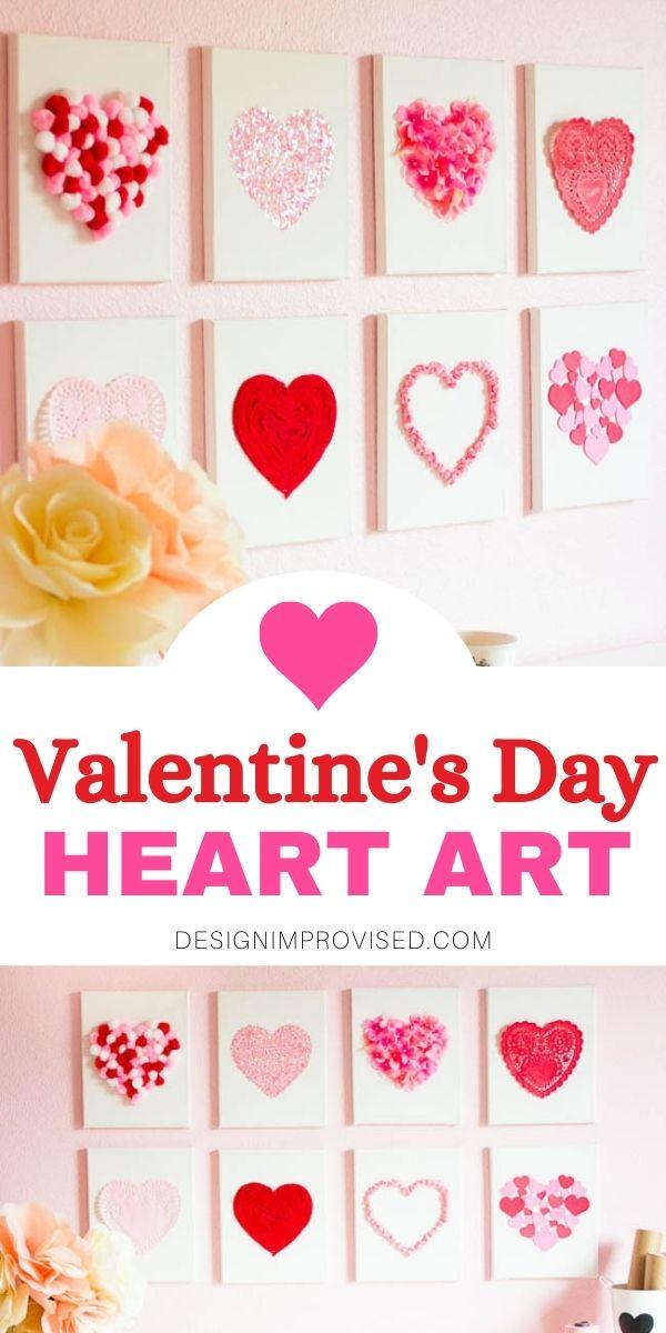 Valentine's Day heart art craft idea