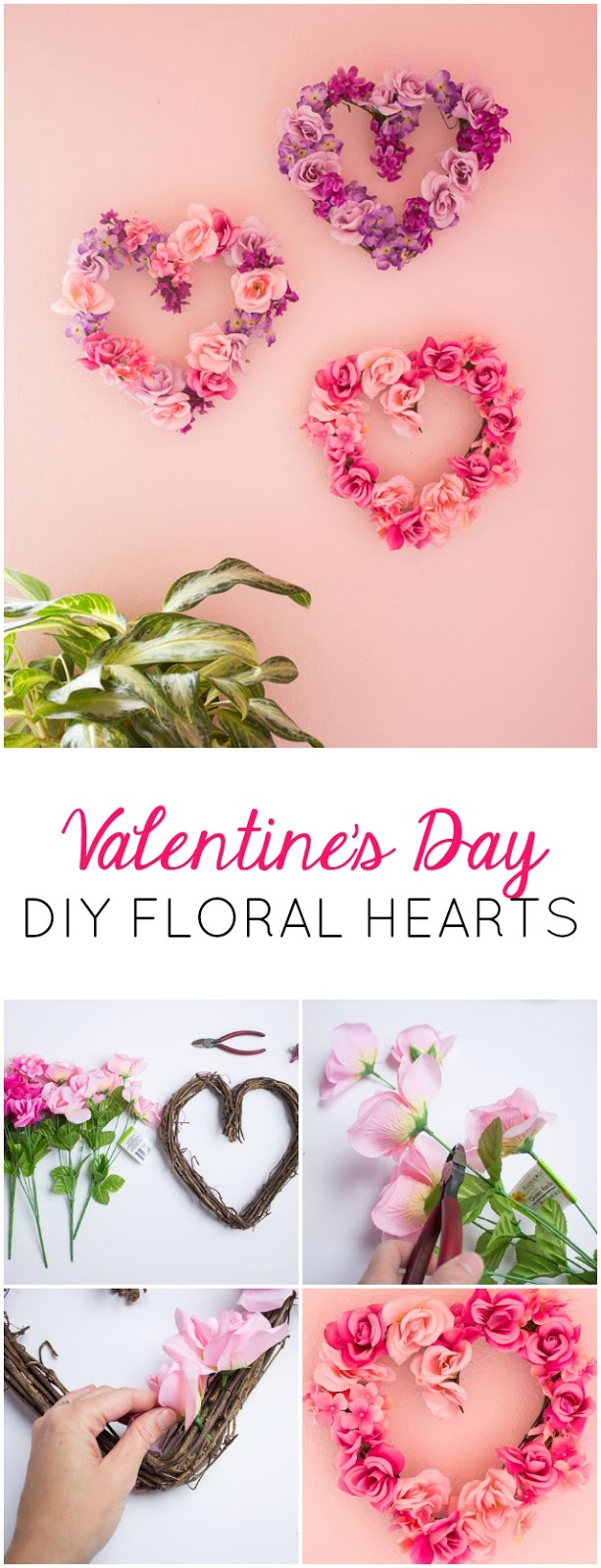 Make these beautiful floral hearts from dollar store flowers!
