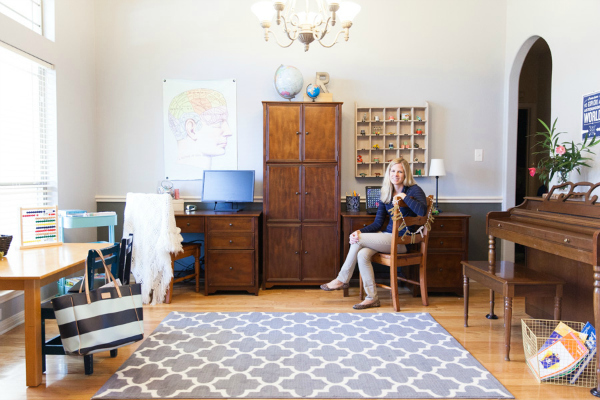 Convert an underutilized formal dining room into a homework room! | http://www.designimprovised.com