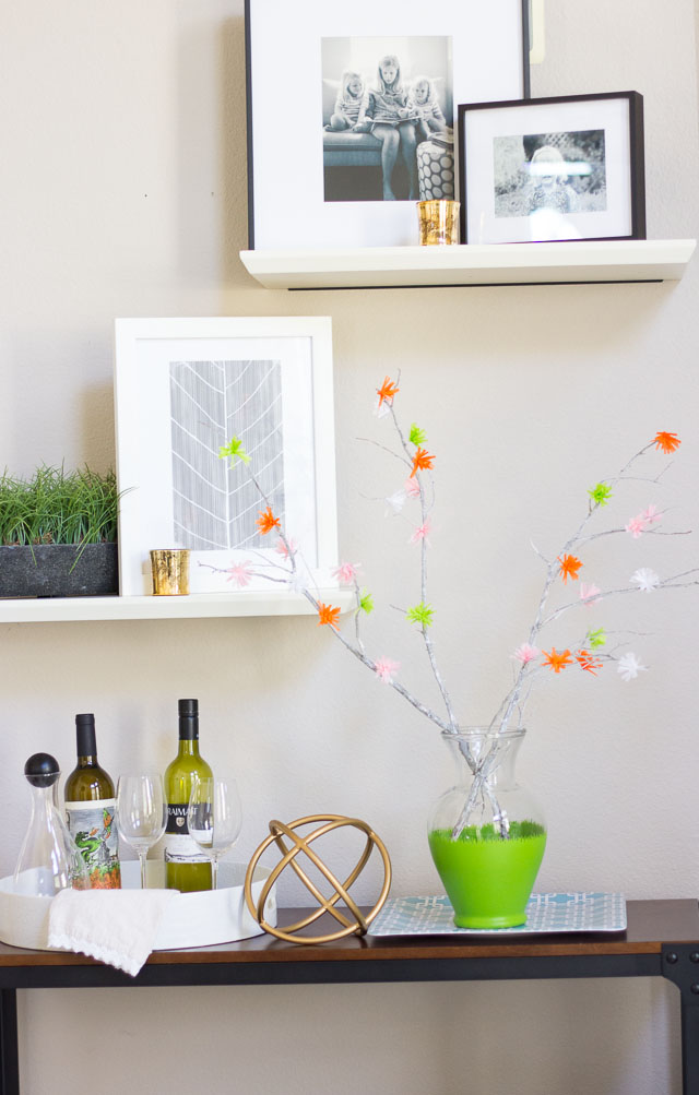 Make these flowering spring branches from party streamers! | http://www.designimprovised.com #12monthsofmartha
