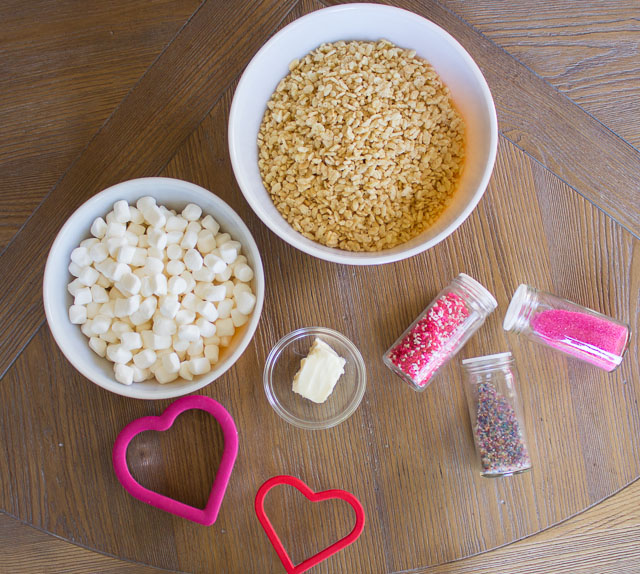 Ingredients for heart-shaped Valentine Rice Krispie treats!