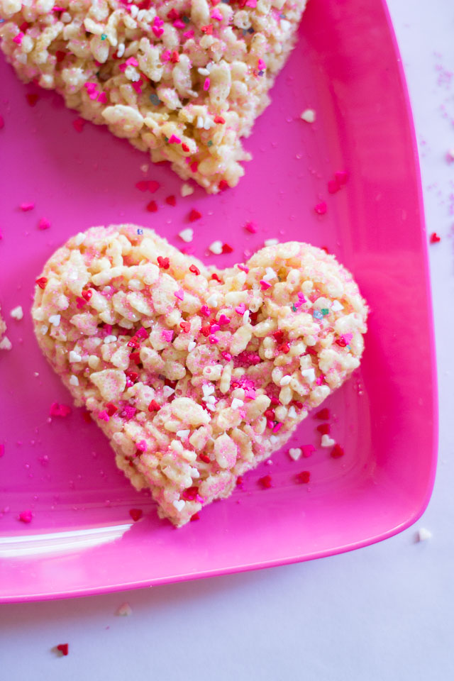 Valentine Rice Krispie treats with heart sprinkles