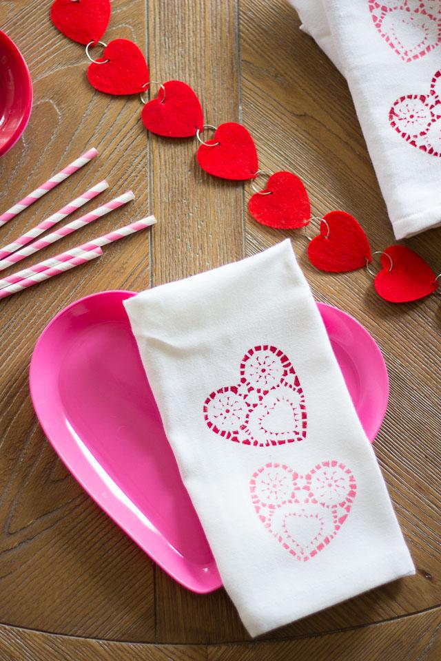 Doily Stencil Napkins & Tea Towels
