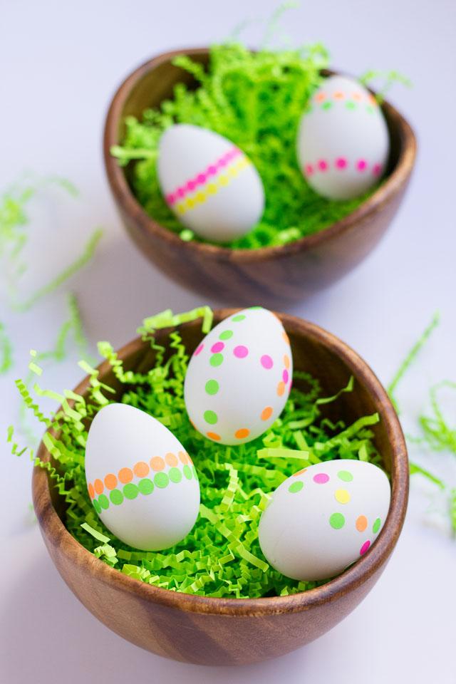 Neon dot sticker Easter eggs