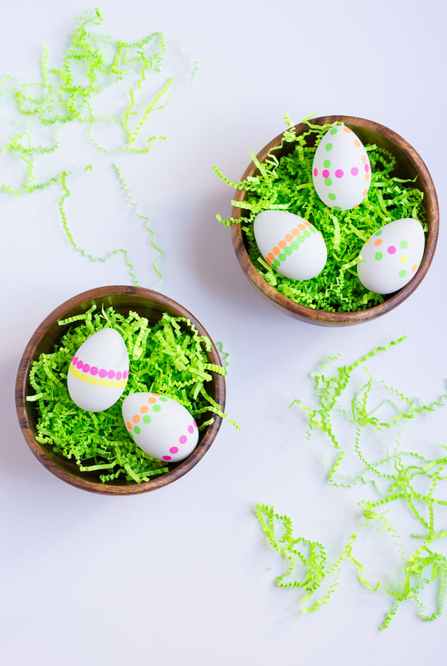 DIY Neon Polka Dot Sticker Easter Eggs