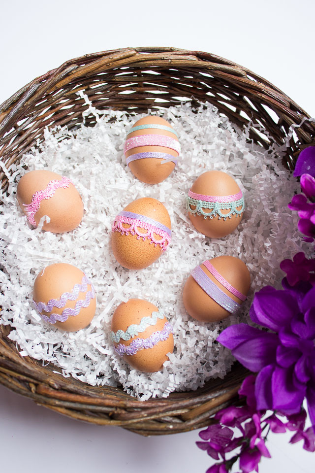 DIY Ribbon Wrapped Easter Eggs