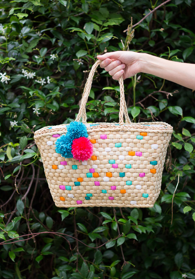 DIY summer straw painted beach bag
