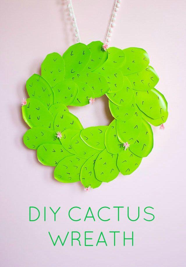 DIY prickly pear cactus wreath