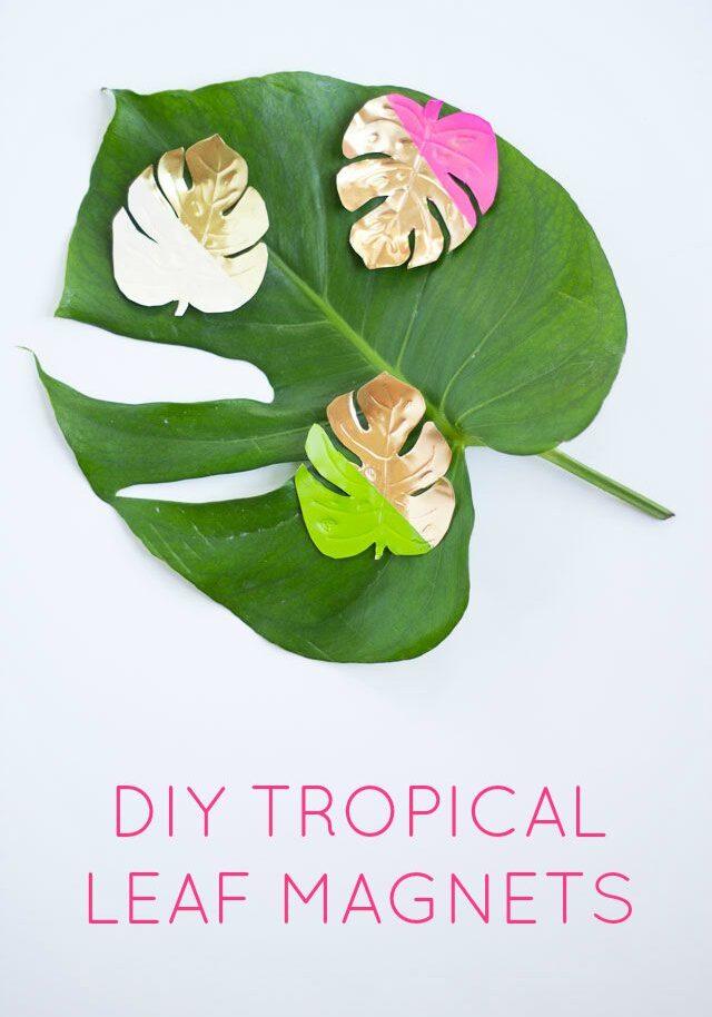 DIY Gold Tropical Leaf Magnets