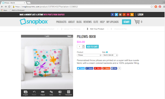 Snapbox personalized throw pillows