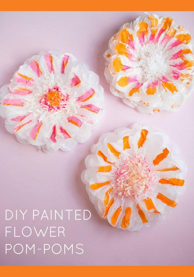 DIY painted flower pom poms