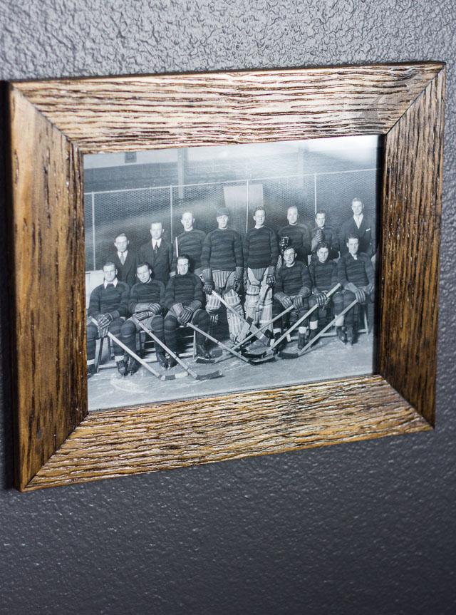Vintage hockey themed man cave