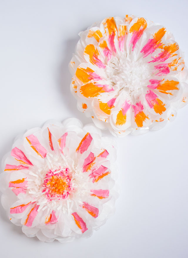 Pink and orange painted tissue paper flowers