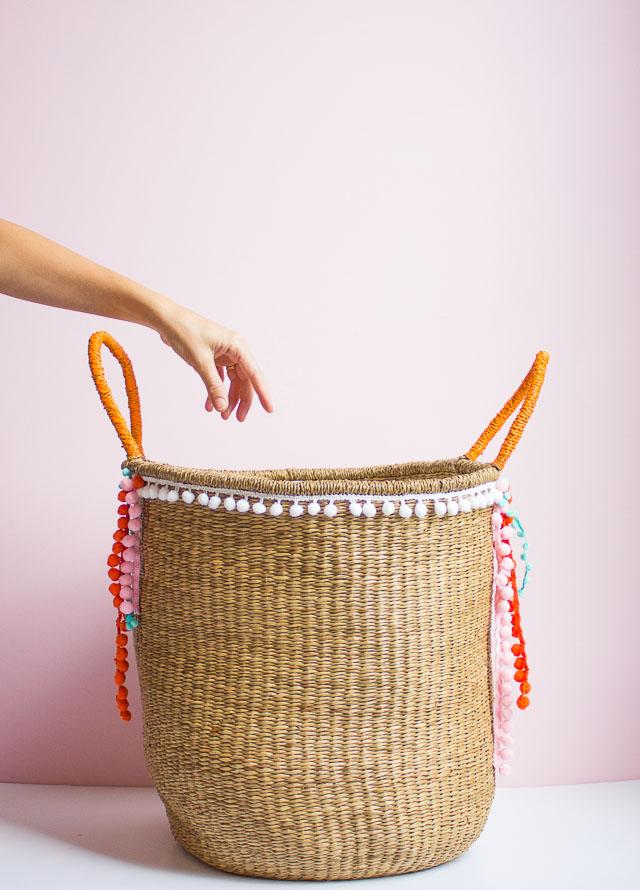 DIY Pom Pom Trim Basket